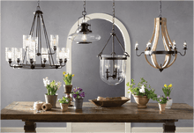 Load image into Gallery viewer, 6 Light Candle Style Empire Chandelier With Wood Accents - Elegance & Splendour