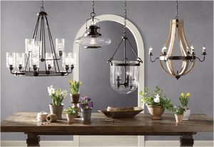 6 Light Candle Style Empire Chandelier With Wood Accents - Elegance & Splendour