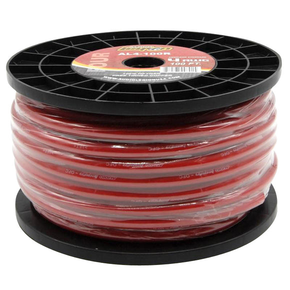 AL4-100 - 100 ft spool of 4 gauge, marine grade red speaker wire