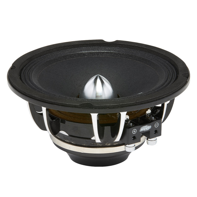"MG6 - side angle view of 6.5"" 400 watt golden midrange speaker showing chrome basket and bullet"