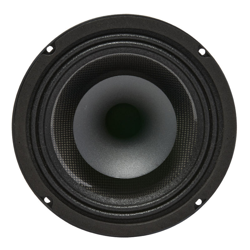 "MR6F - top and profile of 6.5"" 400 watt marine pro driver coaxial speaker"