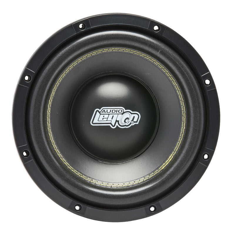 "S1810 - top side angle showing Audio Legion logo on dust cap, cone of 10"" subwoofer"