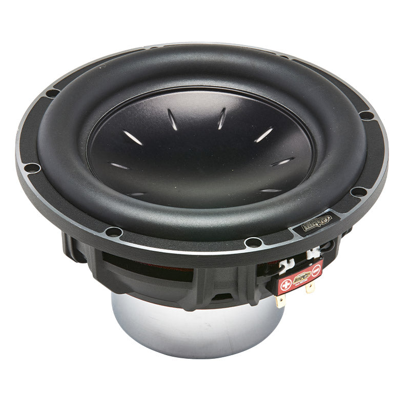 "S30N8 - top view of cone and rubber surround 8"" neo 600 watt subwoofer"