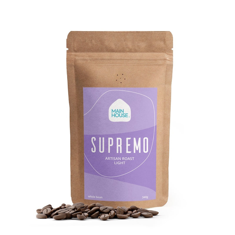 Mainhouse coffee Supremo Artisan Roasted. Whole beans . 340g