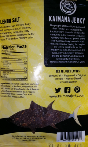 Kaimana Ahi Tuna Jerky Lemon Salt flavor back of bag