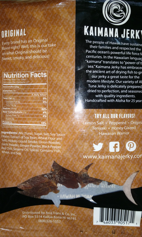 Kaimana Ahi Tuna Jerky Original flavor back of bag