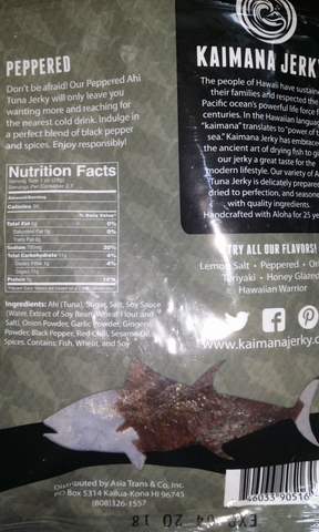 Kaimana Peppered Ahi Tuna jerky back of bag