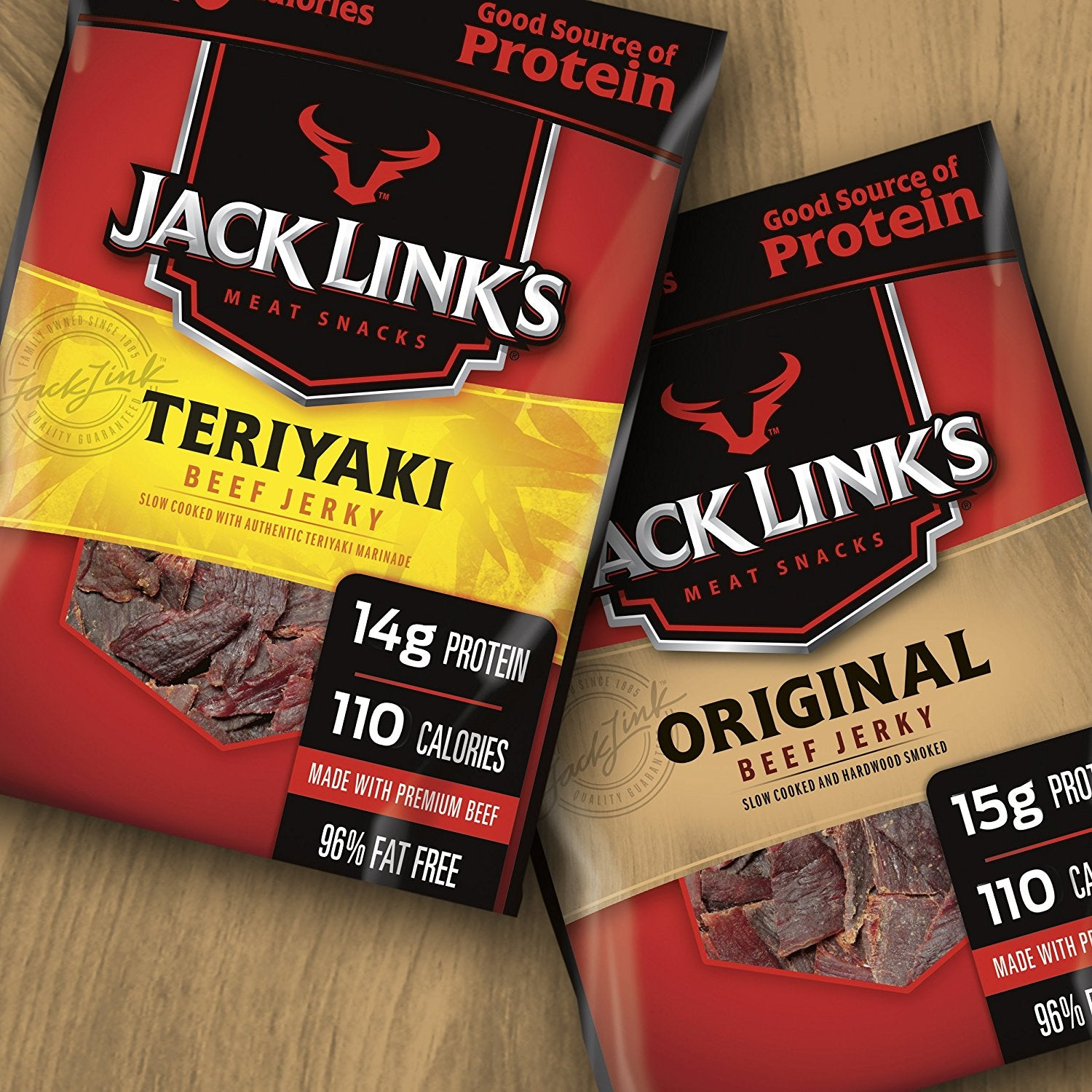 Jack Link's Beef Jerky Variety Bag Original, Teriyaki 9ct 1.25oz Single-serve Bags