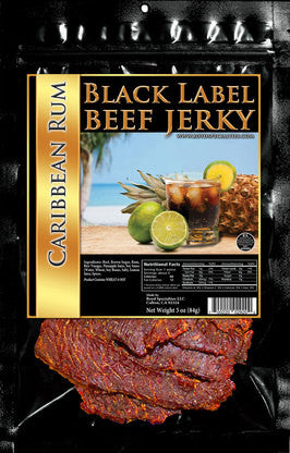 Black Label : Beef Jerky - Caribbean Rum Three Pack (Three, 3oz Bags)