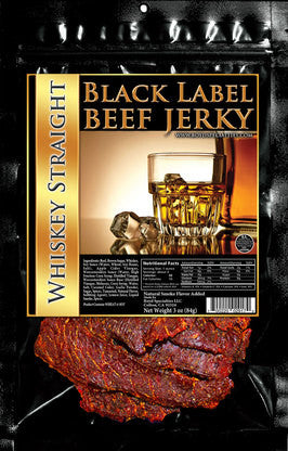 Black Label : Beef Jerky - Whiskey Straight - Three Pack (Three, 3oz Bags)