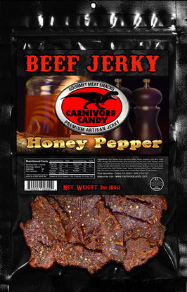 Carnivore Candy : Beef Jerky - Honey Pepper Three Pack (Three 3oz. Bags)