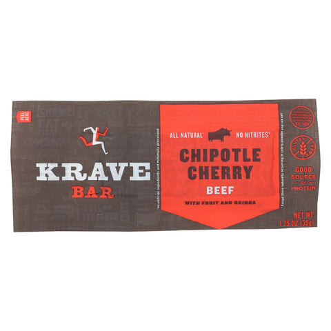 Krave Beef Jerky Bar - Chipotle Cherry - Case of 12 - 1.25 oz