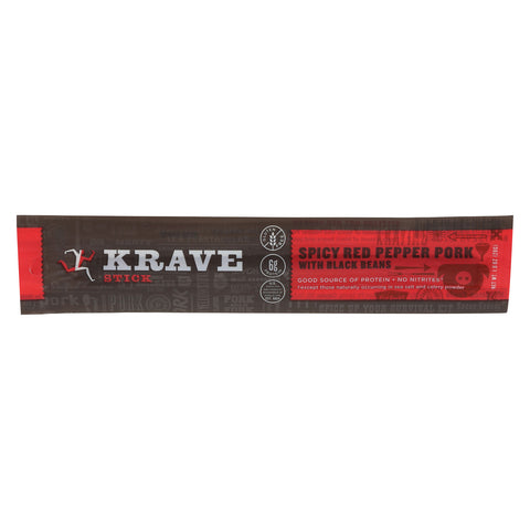 Krave Pork Jerky Stick - Spicy Red Pepper with Black Bean - Case of 12 - 1 oz