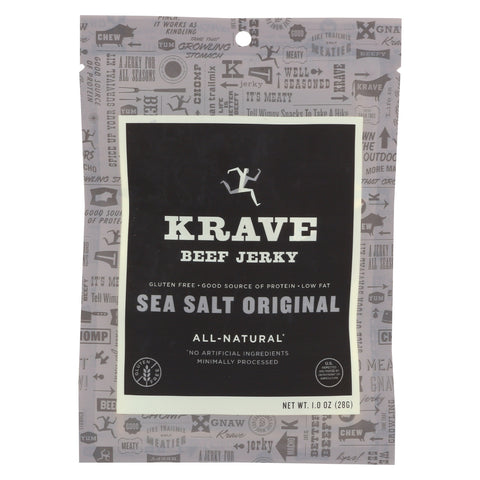 Krave Beef Jerky - Sea Salt Original - Case of 18 - 1 oz