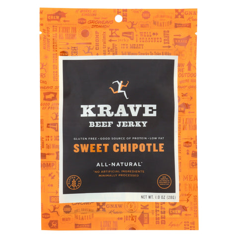 Krave Beef Jerky - Sweet Chipotle - Case of 18 - 1 oz
