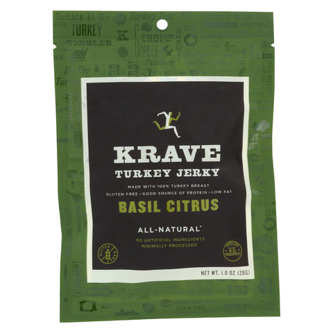 Krave Turkey Jerky - Basil Citrus - Case of 18 - 1 oz