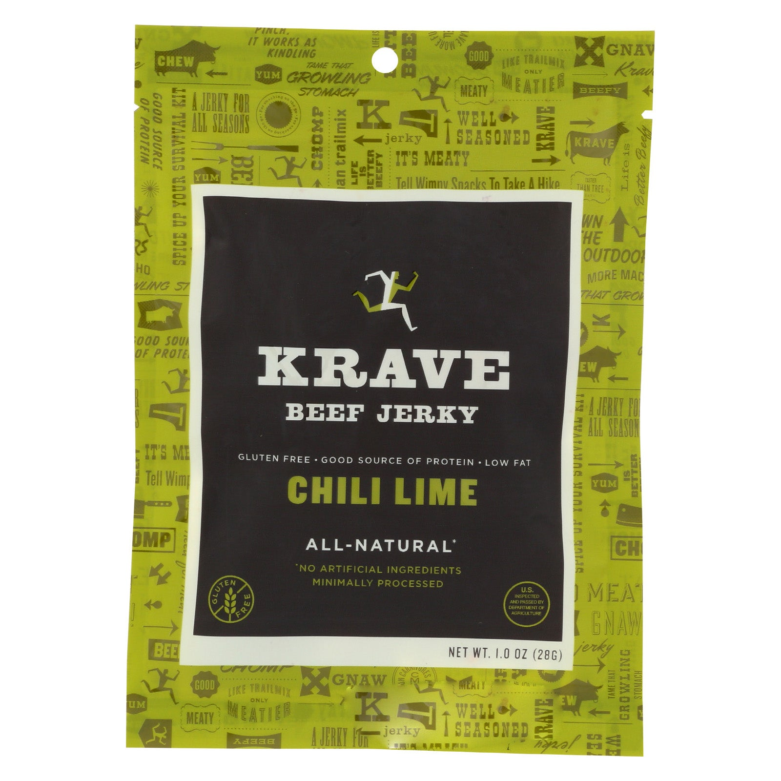 Krave Beef Jerky - Chili Lime - Case of 18 - 1 oz