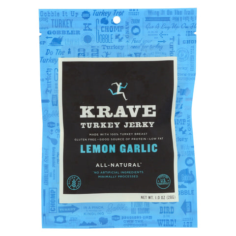 Krave Turkey Jerky - Lemon Garlic - Case of 18 - 1 oz