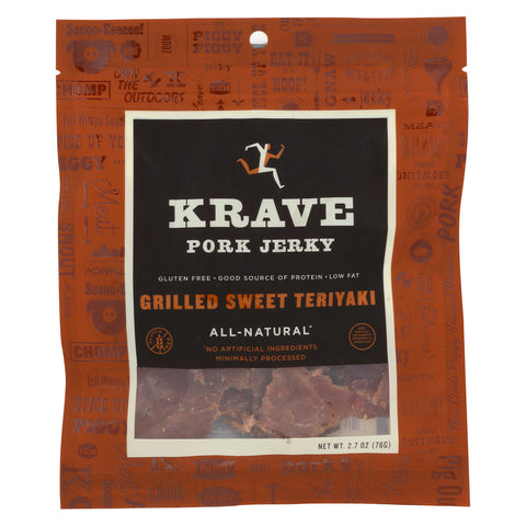 Krave Pork Jerky - Grilled Sweet Teriyaki - Case of 8 - 2.7 oz