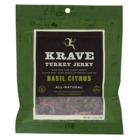 Krave Turkey Jerky - Basil Citrus - Case of 8 - 2.7 oz