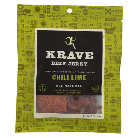 Krave Beef Jerky - Chili Lime - Case of 8 - 2.7 oz
