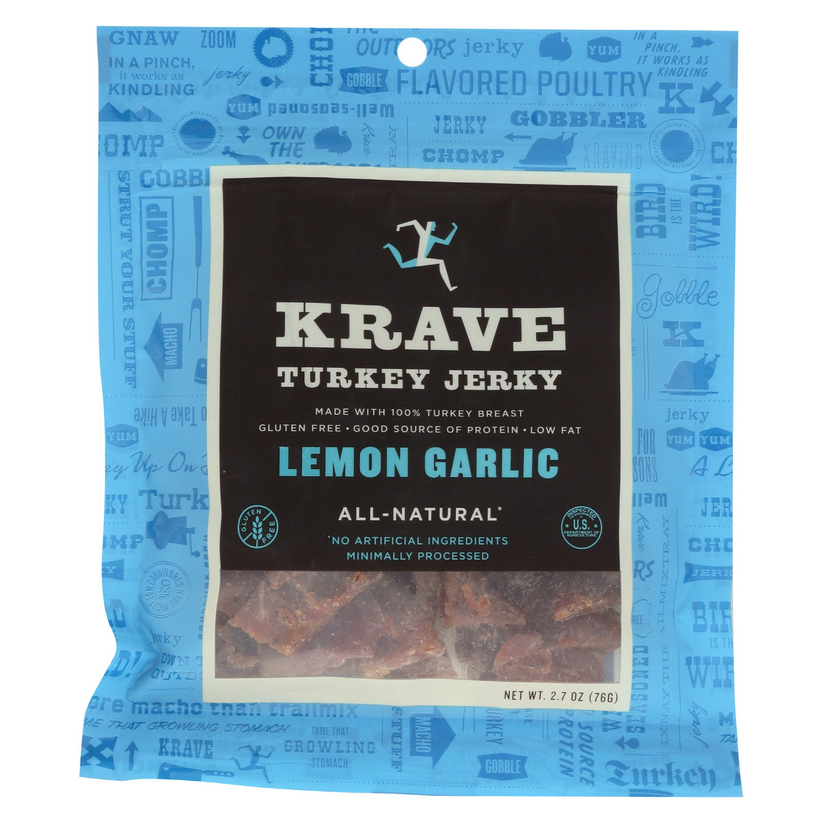 Krave Turkey Jerky - Lemon Garlic - Case of 8 - 2.7 oz