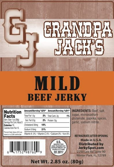 Grandpa Jack's Beef Jerky - Mild Flavor Three Pack - Tender & Thick Pieces (Three 2.85oz Bags)