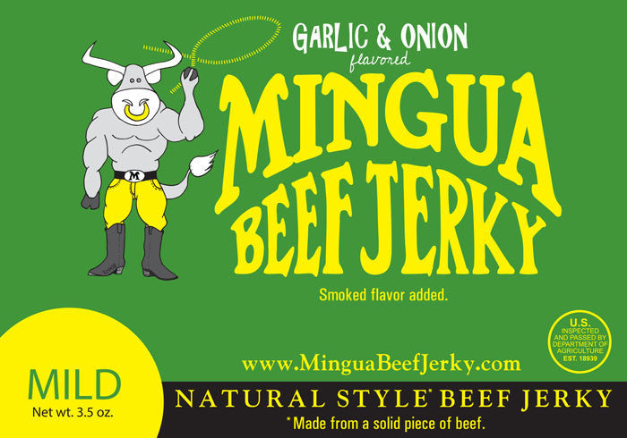 Mingua : Beef Jerky - Garlic & Onion (Four - 3.5oz packs)
