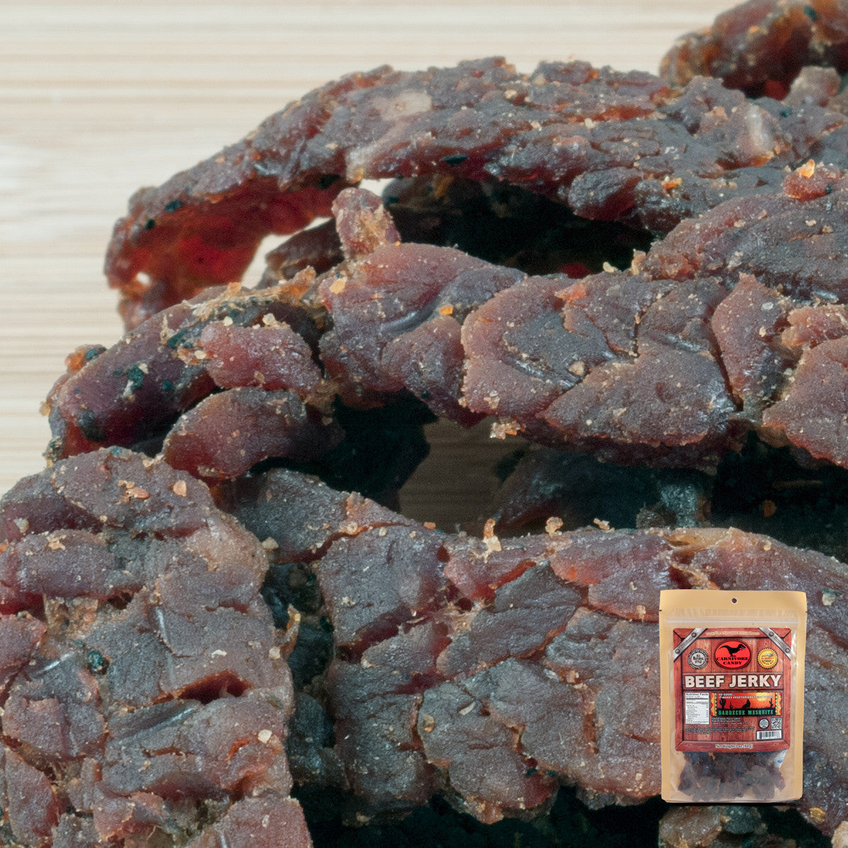 Carnivore Candy : Beef Jerky - Barbecue Mesquite Three Pack (Three 3oz Bags)