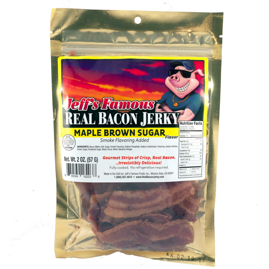 Jeff's Famous Jerky : Real Bacon Jerky - Maple Brown Sugar (Three- 2oz Bags)
