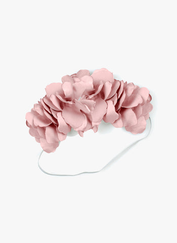 Amour Bows Signature Silk Floral Wreath Elastic Headband in Dusty Pink