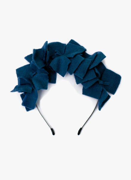 Amour Bows Viola Knit Floral Wreath Headband in Pine Green