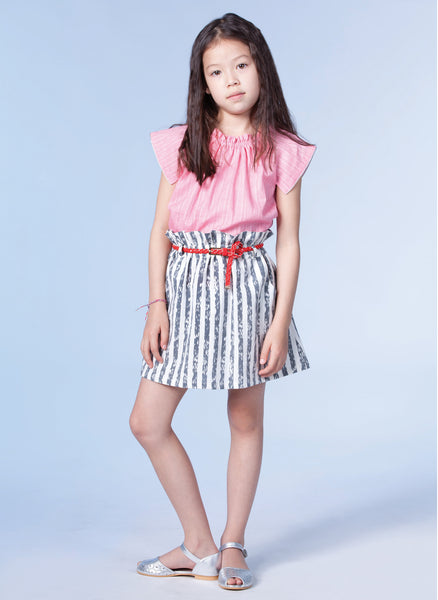 Anais & I Girls Skirt Emilie - Grey Stripes - FINAL SALE