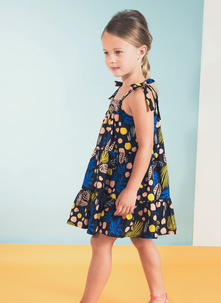 Anthem of the Ants Girls Beach Tie Sundress in Geo Horizon Print - FINAL SALE