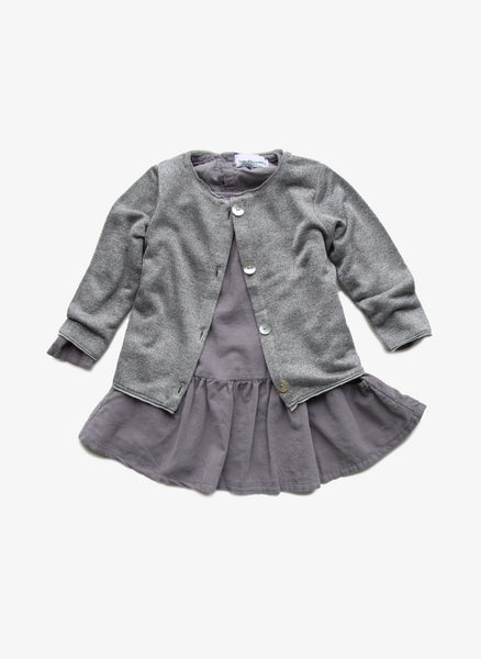 Arsene et Les Pipelettes Girls Metallic Silver Cardigan - H15FS04 - FINAL SALE