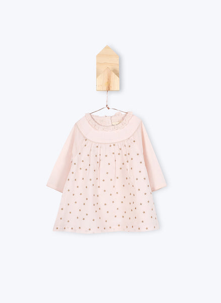 Arsene et Les Pipelettes Baby Girl Dress Jadyn in Pink Powder