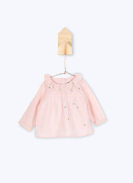 Arsene et Les Pipelettes Baby Girl Shirt Joandra in Pink Powder