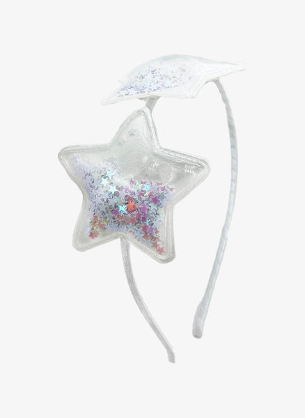 Bari Lynn Double Confetti Star Thin Headband in White