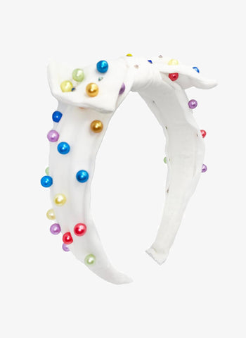 Bari Lynn Pearl Tie Knot Headband in White With Rainbow Pearls