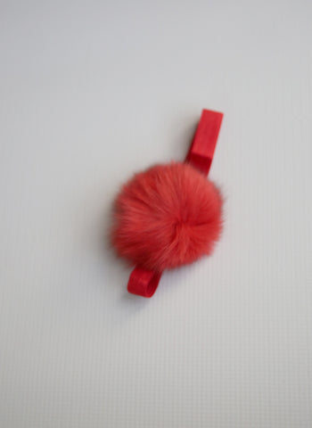 Bari Lynn Pompom Baby Headband in Red