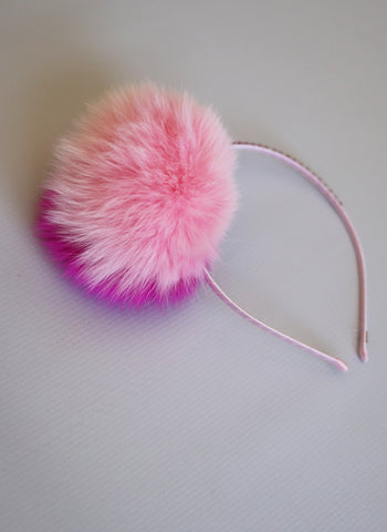 Bari Lynn Two Tone Pompom Headband with Swarvoski Crystals