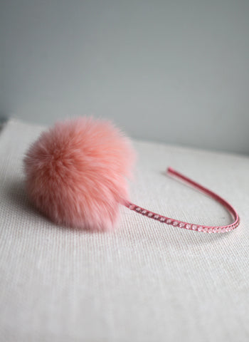 Bari Lynn Pompom Headband with Swarvoski Crystals - Peach Pink