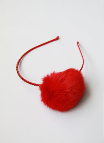 Bari Lynn Pompom Headband with Swarvoski Crystals - Red