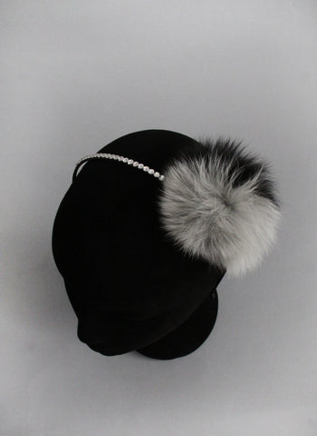Bari Lynn Two Tone Pompom Headband with Swarvoski Crystals in Grey and Black