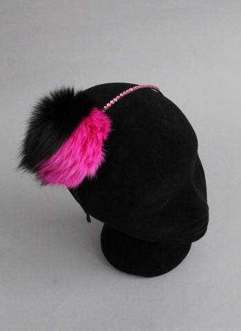 Bari Lynn Two Tone Pompom Headband with Swarvoski Crystals in Hot Pink and Black