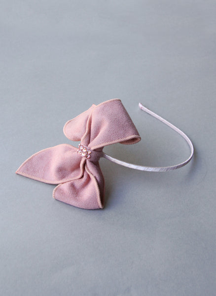 Bari Lynn Faux Suede Bow Headband in Pink