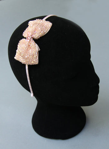 Bari Lynn Glass Beaded Bow Headband in Light Pink
