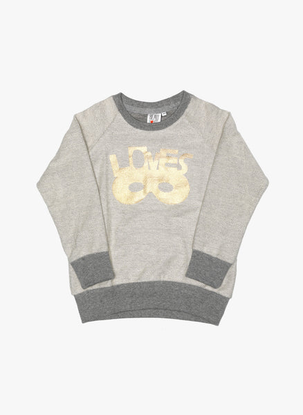 Beau Loves Raglan Jumper Inside-out Grey marl Gold Lovemask - FINAL SALE