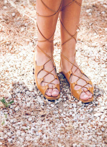 Belle chiara Hebe Lace Tie Sandals in Tan - FINAL SALE