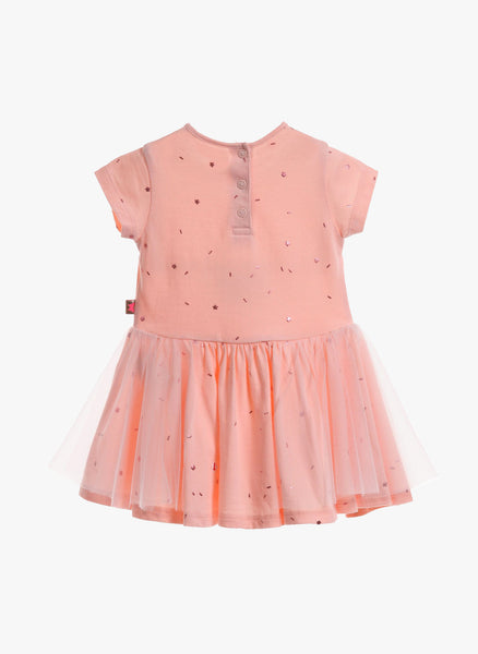 Billieblush Baby Girls Pink Jersey Metallic Star Dress in Loukoum - U02078/44D - FINAL SALE